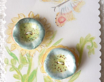 Blue Hollyhock Buttons, Ceramic Porcelain Clay, Blue and Lime Green with Brown Highlights