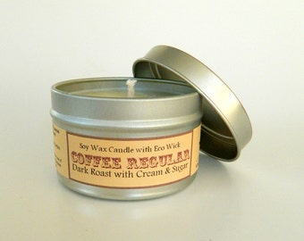 Coffee Scented Candle Tin / 6 oz Soy