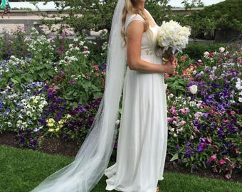 6ft two tier floor length Bridal veil