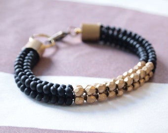Native American Black and Gold Beadwork Bracelet