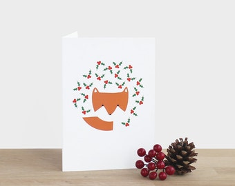 Fuchs und Holly Weihnachtskarte - leere festliche Weihnachten Urlaub Saison danke Beeren Baum Busch Blatt rot grün orange-weiß