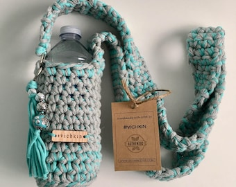 Cross body Crochet Water Bottle Bag, Water Bottle Holder Case, Water Bottle Sling, turquoise grey, beads, tassel, READY TO SHIP, #vichkin