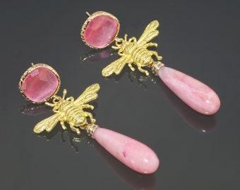 Pink Opal Bee Eye-catching Earrings