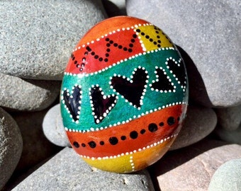 light hearted / painted rocks / painted stones  / paperweights / rock art / hearts on rocks / hand painted rocks / small paintings / rocks