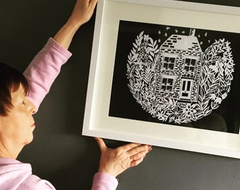 Home sweet home, papercut, handmade, unique, paper, gift, new home, new house, family, framed