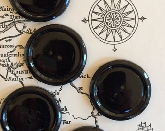 Vintage black 28 mm buttons - set of 5