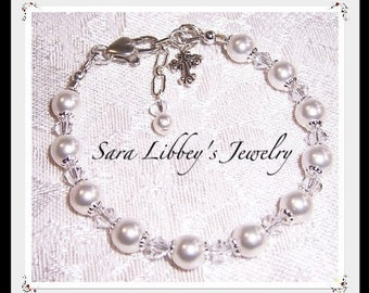 First Communion or Flower Girl Bracelet  Necklace and Earrings with Swarovski Pearl and Crystals