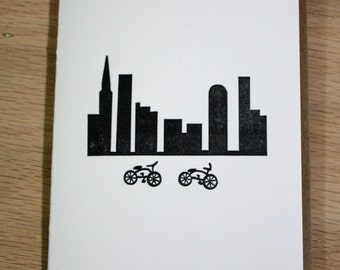 Biking in the City Letterpress Card - New York City Skyline ~ Handmade ~ FREE shipping ~