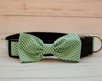 Green and White Gingham Check Dog Bow Tie Collar