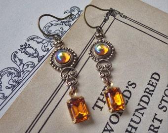 Small Amber Topaz ~ Earrings ~ Vintage Glass ~ Art Deco Style ~ Swarovski ~ November Birthstone ~ by LadyoftheLakeJewels