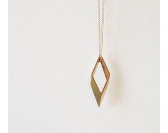 Minimalist Geometric Brass Rhombus Necklace