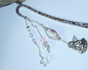 "Large bookmark Silver ""Angel rose"""