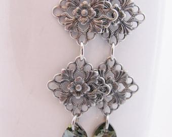 Antique Silver Floral Diamonds with Bronze Swarovski Teardrops