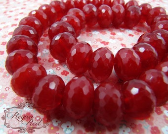 Dark Crimson Faceted Glass Rondelle Beads, large roundels, red glass, Winter, beading, beads, faceted beads - reynaredsupplies