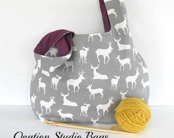 Knitting bag, Large knitting project bag, Deer Stag Yarn Bag gift for knitter, Knitting tote bag