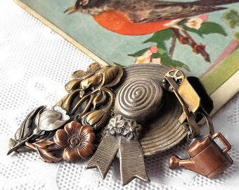 PRETTY Vintage Gardening Brooch-Pin-Hat-Flowers-Wheelbarrow-Watering Can-Copper-Silver-Bronze, Brass, Gold-All Orders Only 99c Shipping!