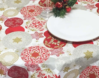 Christmas Tablecloth, Holiday Tablecloth, Coated Tablecloth, Round Christmas Tablecloth
