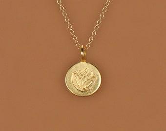 Lotus necklace - gold lotus necklace - yoga necklace - lotus flower - disc necklace - gold lotus flower on a 14k gold vermeil chain
