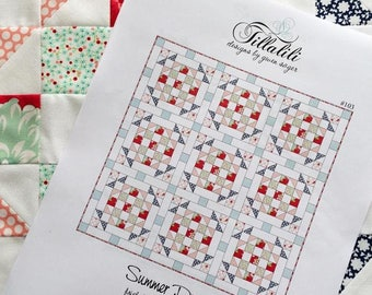 "Summer Picnic Quilt Pattern - 50.5"" x 50.5"" - Only 5 FAT QUARTERS - Quilt Patterns - Bonnie and Camille Fabric - Kate Spain - PDF Download"