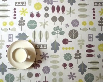 """Tablecloth white abstract garden leaves 37""""x37"""" or made to order your size, also napkins , runner , curtains , pillows available, great GIFT"""