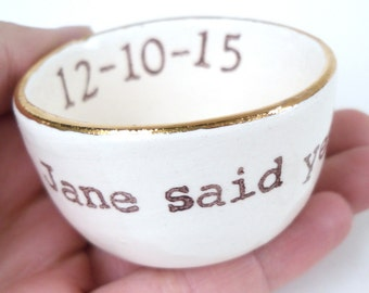 bridal shower gift, personalized ring dish, jewelry dish, engagement ring dish, gift for bride, personalized ring holder, custom wife gift