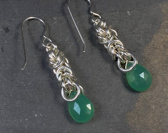 Signature Deirdre Earrings Sterling Silver with Vibrant Green Chrysoprase