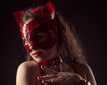 Leather Cat Mask Catwoman Masquerade Red BDSM Mask Adult Play Fetish Harness Real Leather Costume Kinky Kitten Leash Submissive Dominant Cat