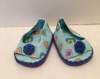 "DF38- 18"" Maplelea doll slipper: blue flannel slip on slippers"