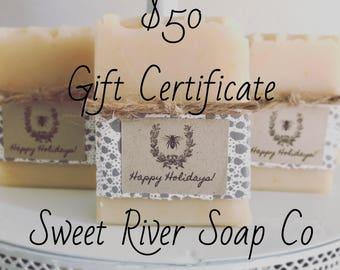 50 Dollar Gift Certificate, Sweet River Soap Co