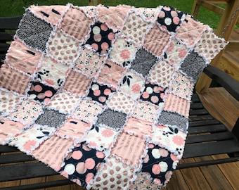 Rag Quilt- Metallic Gold- Pink and Navy-Crib Quilt- Nursery Decor- Baby Blanket- Quilt