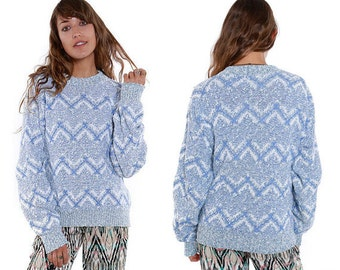 Vintage 90s Zig Zag Thick Cotton Sweater