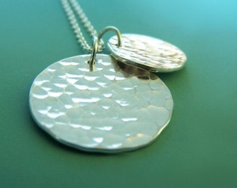 Hammered Disc Sterling Silver Necklace, Hand Hammered, Two Charms, Large Pool