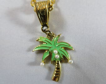 Green Palm Tree Necklace on Gold toned bail and chain, 17 1/2 inch in length, with lobster clasp, Metal charm, Summer, Tropical, Island