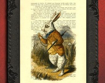 White Rabbit Alice in Wonderland Art Print on Vintage Dictionary Book page, down the rabbit hole, Alice in wonderland Children