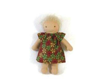 8 inch Waldorf Doll Dress, sweet simple dress in brown floral print