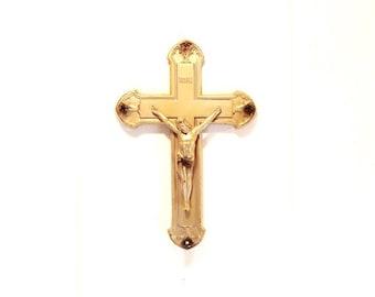Vintage Crucifix - Wall Hanging Crucifix - Metal Cross - Religious Decor