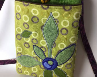 Green Flower Crossbody