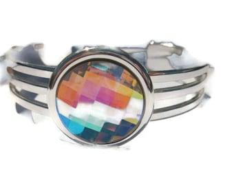 Cuff Bracelet, Swarovski Crystal AB, Cuff Bangle, Silver Cuff Bracelet, Bold Jewelry, Bling Jewelry
