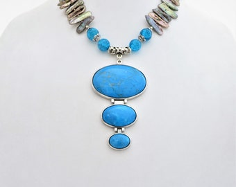 Biwa Freshwater, Pearl Necklace, Large Turquoise Howlite Pendant, Beaded Multi Color, Stick Pearl Jewelry, Bold Statement Necklace,