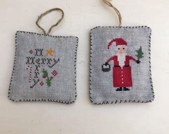 Handmade Primitive Country Needlework Cross Stitched Linen Christmas Ornaments 2