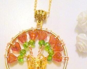 Fuscia Czech Glass Flower Boquet Pendant Necklace