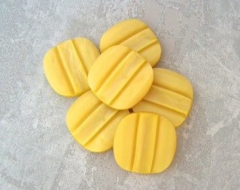Modern Yellow Buttons - CHOOSE 25mm 1 inch, 29mm 1-1/8 inch - VTG NOS Rounded Square Bumblebee Yellow Shank Buttons w/ Carved Stripe PL005