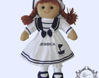 Personalised Sailor Rag Doll, Sailor, Navy, gift for a child