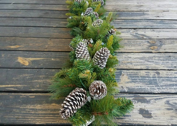 Garland, Holiday Garland, Christmas Garland, Mantel Garland, Fireplace Garland, 9 Foot Pine Garland With Pine Cones