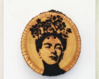 Wood burned Frida Kahlo button