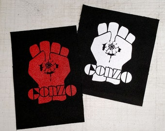 Gonzo Fist Screen Printed Sew On Punk Patch on Black Canvas