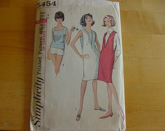 VINTAGE 1960s Simplicity Pattern 5454, Misses Jumper, Top and Shorts, Size 14, Bust 34