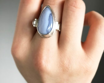 Blue Lace Agate and Faceted Garnet Gemstone Ring in Sterling Silver One of a Kind Bold Statement