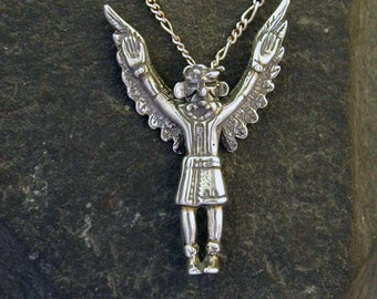 Sterling Silver Southwest Pueblo Indian Eagle Dancer Kachina Pendant on a Sterling Silver Chain
