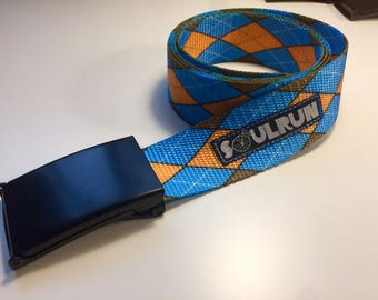 Scout Buckle Belt - Blue and Gold Argyle
